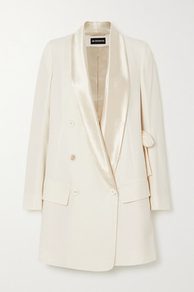 Ann Demeulemeester Alwin Belted Satin-trimmed Wool And Cotton-blend Blazer - White