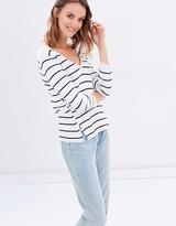 Miss Selfridge Stripe V Lattice Side Jumper