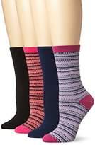 Steve Madden Legwear Women's Four Pack Fairisle Luxury Blend Boot Sock