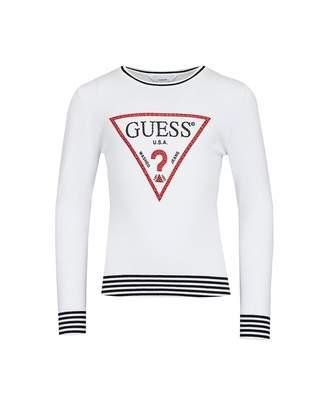 GUESS Guess? Logo Striped Trim Knit Colour: WHITE, Size: Age 7