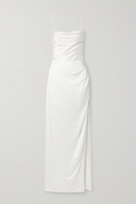 retrofete Marlene Crystal-embellished Draped Silk-satin Maxi Dress - White