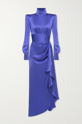 Alessandra Rich Draped Silk-satin Turtleneck Gown - Blue