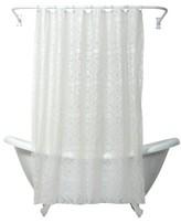 "India Ink Morocco PEVA Geometric Shower Curtain - White (70""x72"")"