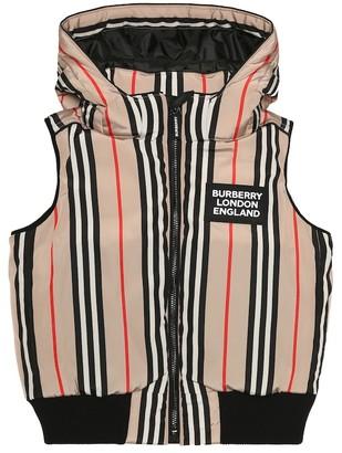 BURBERRY KIDS Icon Stripe down vest