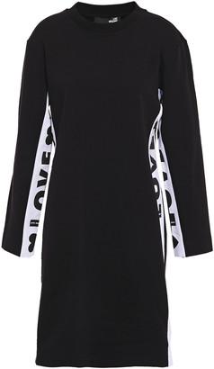 Love Moschino Monogram-trimmed Stretch-cotton Fleece Mini Dress