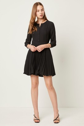 French Connection Erika Crepe Pleated Button Through Dress