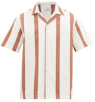 Saturdays NYC Canty Striped Cuban-collar Cotton Shirt - Mens - White Multi