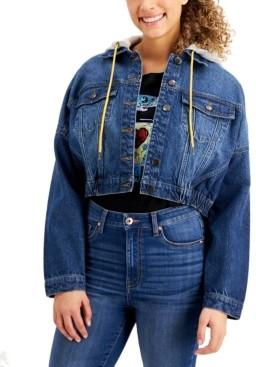 Tinseltown Juniors' Cotton Hooded Denim Jacket