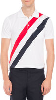 Thom Browne Tricolor-Stripe Polo Shirt, White/Red/Navy