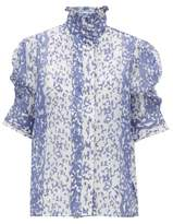 Thierry Colson Vita Ruffle-neck Cotton-blend Blouse - Womens - Blue
