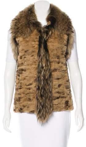 Adrienne Landau Fox-Trimmed Fur Vest