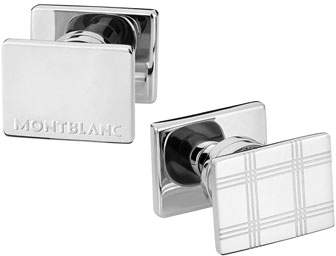 Montblanc Essential Sartorial Check-Pattern Rectangular Steel Cuff Links