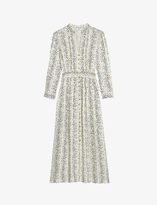 Sandro Shira graphic-print crepe midi dress