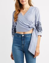 Charlotte Russe Stiped & Embroidered Wrap Crop Top