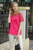 Up Ultrapink UP Ultrapink Missy Womens Short Sleeve Blouse Crochet Insert at Sleeve/ Shoulder