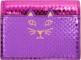 Charlotte Olympia Pink and Purple Feline Card Wallet