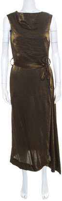 Vivienne Westwood Anglomnia Metallic Gold Asymmetric Hem Sleeveless Vasari Dress S