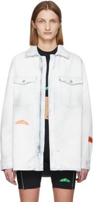 Heron Preston White Denim Zip Shirt Jacket
