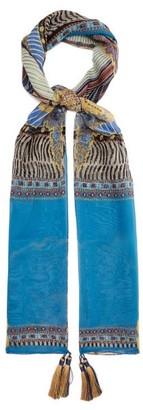 Etro Delphy Tasselled Printed Silk-chiffon Scarf - Womens - Blue Multi