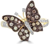 Effy Jewelry Effy Nature 14K Yellow Gold Cognac & White Diamond Butterfly Ring, 0.45 TCW