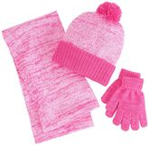 Berkshire Girls 4-16 3-pc. Marled Infinity Scarf, Hat & Gloves Set