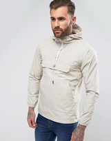 Pull&bear Overhead Jacket With Pouch Pocket In Stone