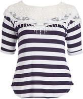 Celeste Navy Stripe Lace-Shoulder Top - Plus