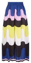 Emilio Pucci Wave Print Georgette Midi Skirt