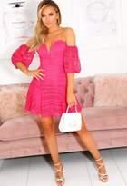 Pink Boutique Tracie Pink Strapless Frill Hem Mini Dress