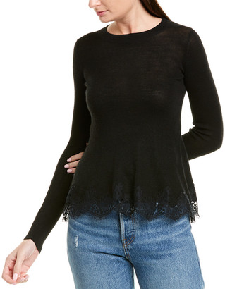 Rebecca Taylor Lace Trim Wool-Blend Pullover
