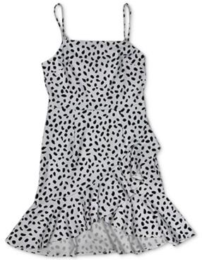 Bar III Dot-Print Ruffled Mini Dress, Created for Macy's