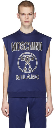 Moschino Blue Logo Sleeveless T-Shirt