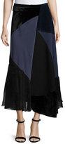 Victoria Beckham Patchwork Midi Wrap Skirt, Navy/Black
