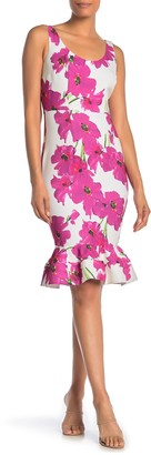 trina Trina Turk Outing Floral Sleeveless Ruffled Sheath Dress