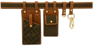 Fendi Brown and Green Canvas Multi Pockets Belt Bag