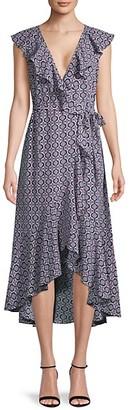 Max Studio Printed Ruffled Wrap Dress