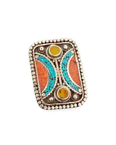 Devon Leigh Turquoise, Coral & Jade Rectangle Ring