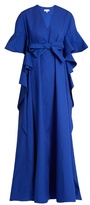 DELPOZO V-neck ruffled-edge cotton gown