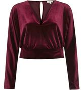 River Island Womens Dark red velvet long sleeve crop top