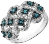 Paradise Jewelers Ladies 2.00CTW Blue Topaz & 1.00CTW Diamond 14K White Gold-Plated Sterling Band, Size 7.5