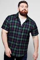 boohoo Big And Tall Green Short Sleeve Check Shirt