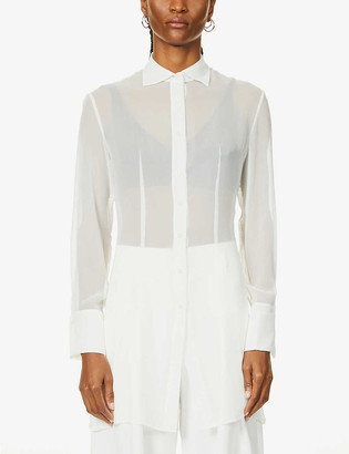 Aya Muse Longline sheer silk-chiffon shirt