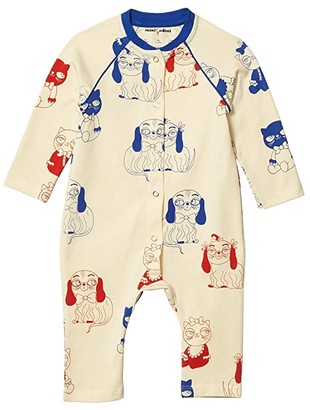 Mini Rodini Minibaby All Over Printed Long Sleeve Jumpsuit (Infant) (Off-White) Boy's Jumpsuit & Rompers One Piece