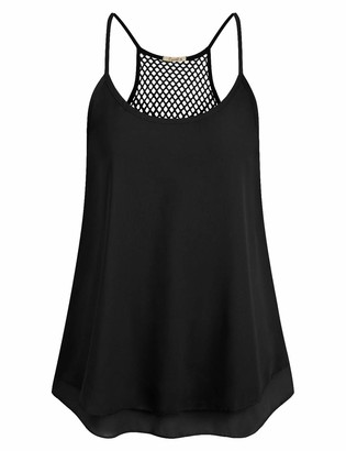 Cyanstyle Women's Chiffon Sleeveless Blouses Backless Casual Summer Camis Loose Tank Top(Black XL)