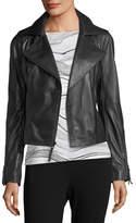 St. John Luxe Napa Leather Moto Jacket