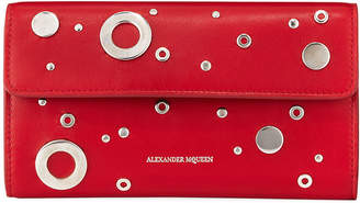 Alexander McQueen Grommet Leather Chain Wallet, Red