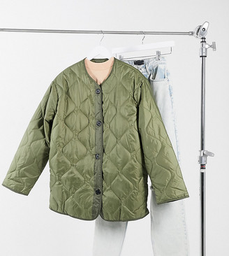 Asos Tall ASOS DESIGN Tall quilted jacket with fleece lining in khaki