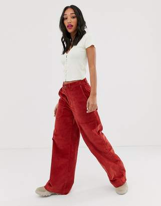 Noisy May wide leg high waisted cord trousers in rust-Brown