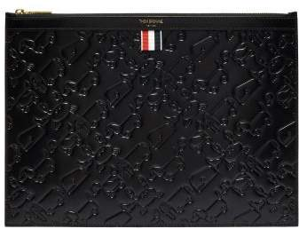 Thom Browne Embossed Leather Document Holder - Mens - Black