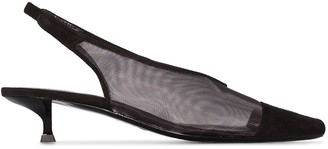 BY FAR Kendall 40mm Mesh Leather Slingback Pumps